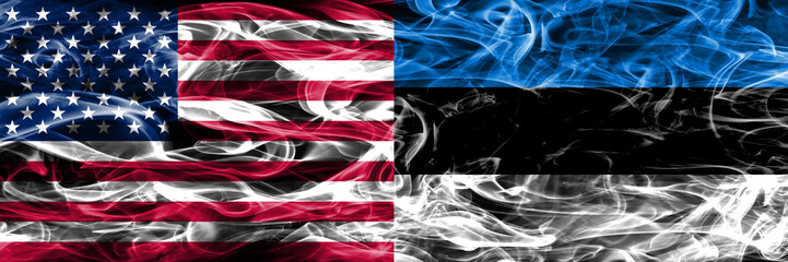 United States vs Estonia smoke flags concept placed side by side