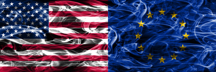 United States vs Eu smoke flags concept placed side by side. European union flag.