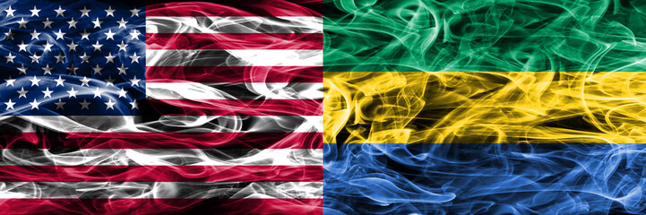 United States vs Gabon smoke flags concept placed side by side
