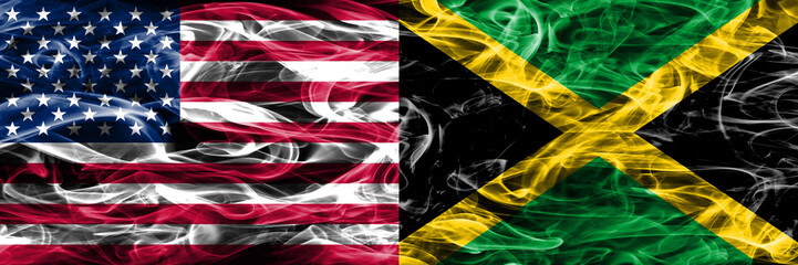 United States vs Jamaica smoke flags concept placed side by side