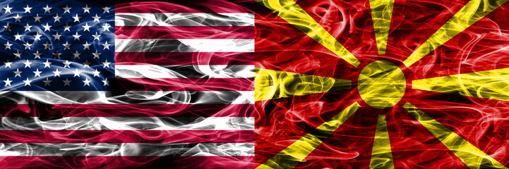 United States vs Macedonia smoke flags concept placed side by side