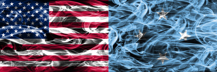 United States vs Micronesia smoke flags concept placed side by side