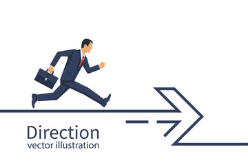 Businessman with a briefcase runs along the direction line. Direction concept. Abstract arrow minimal design line. Vector illustration flat design. Isolated on white background.