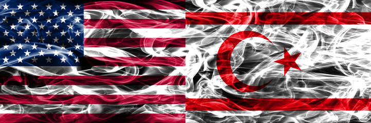 United States vs Northern Cyprus smoke flags concept placed side by side