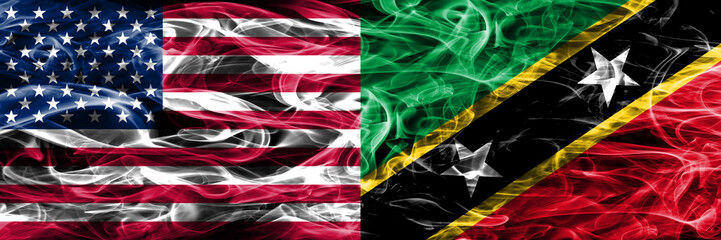 United States vs Saint Kitts and Nevis smoke flags concept placed side by side
