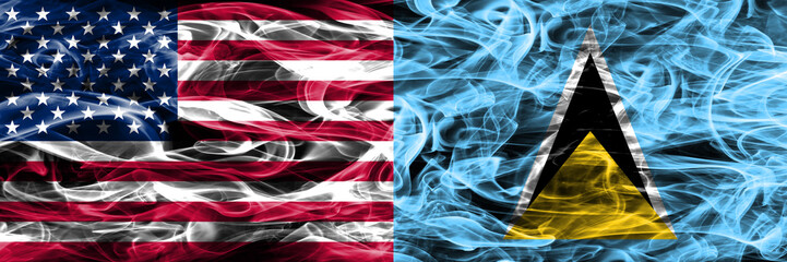 United States vs Saint Lucia smoke flags concept placed side by side