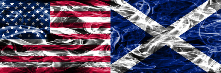 United States vs Scotland smoke flags concept placed side by side