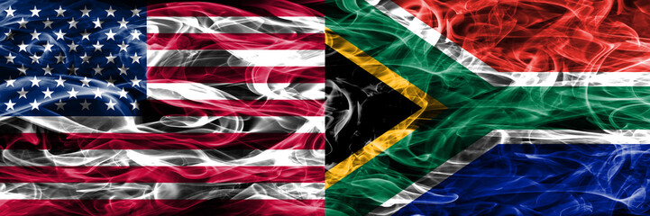 United States vs South Africa smoke flags concept placed side by side