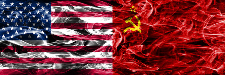 United States vs USSR communist smoke flags concept placed side by side