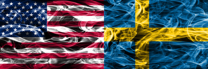 United States vs Sweden smoke flags concept placed side by side