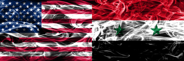 United States vs Syria smoke flags concept placed side by side