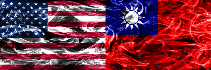 United States vs Taiwan smoke flags concept placed side by side
