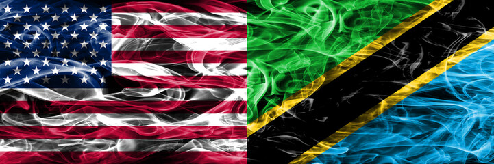United States vs Tanzania smoke flags concept placed side by side