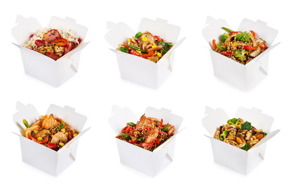 Rice and noodles in boxes
