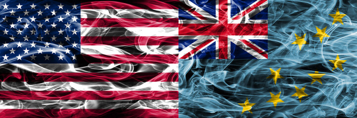 United States vs Tuvalu smoke flags concept placed side by side