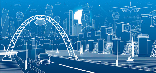 City infrastructure industrial and energy illustration. Hydro power plant. River Dam. Automobile road. Car move on Illuminated highway. Big bridge. White lines on blue background. Vector design art