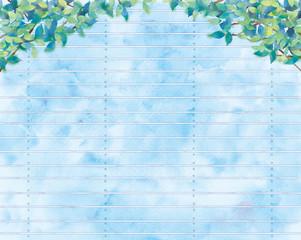 青葉と板塀の背景イラスト