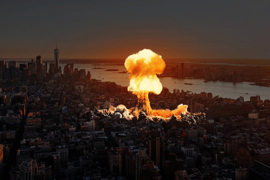 Nuclear explosion in the city.