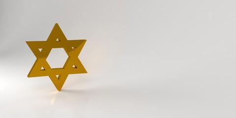 Golden Jewish star of David. 3d rendering