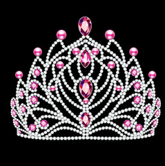 illustration of beautiful diadem, crown, tiara female with pearls and precious stones