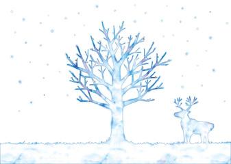冬の木とトナカイのイラスト