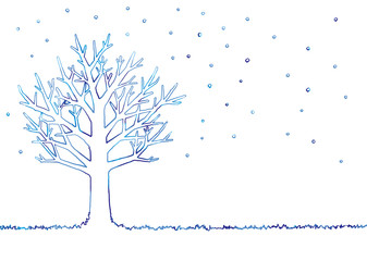 冬の木のイラスト