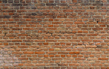 Dirty Brick Wall Background. Uneven Brick Texture.