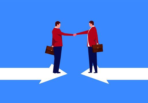 Businessman shaking hands on opposite arrows