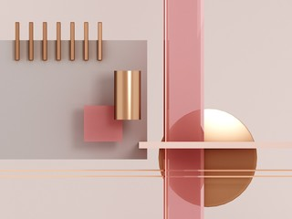Geometric shapes pink and gold.Pastel geometric scene