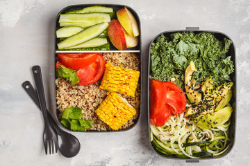 Foto op Canvas Assortiment Healthy meal prep containers with quinoa, avocado, corn, zucchini noodles and kale. Takeaway food.