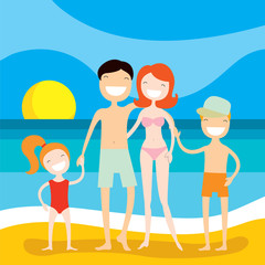 Happy family on the beach. Summer vacation, holidays by the sea