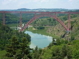 metal bridge over the river in France