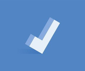 Check mark isometric icon. Vector illustration for web design in flat isometric 3D style.