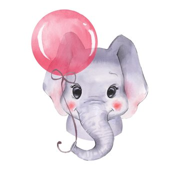 Watercolor elephant with balloon. Cute cartoon illustration, isolated on white background