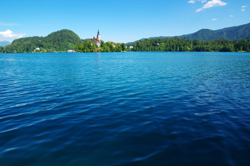 Lake Bled and mountains.