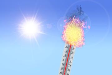 Vor Hitze explodierendes Thermometer