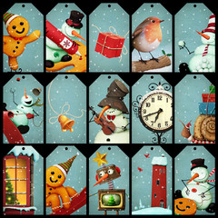 Collection of holiday greetings tag Christmas and New Year.