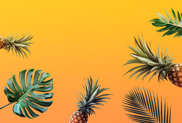 Tropical leaves pattern with pineapple color background.Nature and holiday summer concepts