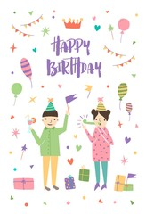 Birthday greeting card with boy and girl wearing cone hats and surrounded by confetti, balloons, festive gifts, flag garlands. Pair of cartoon characters at celebration party. Vector illustration.