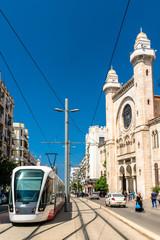 Tram at the Abdellah Ben Salem Mosque in Oran, Algeria