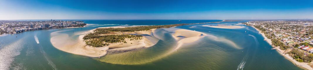 Drone view of Pumicestone Passage, Bribie Island and Caloundra, Sunshine Coast, Queensland, Australia