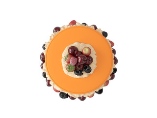 Different delicious cakes on white background. Top view. 3D render