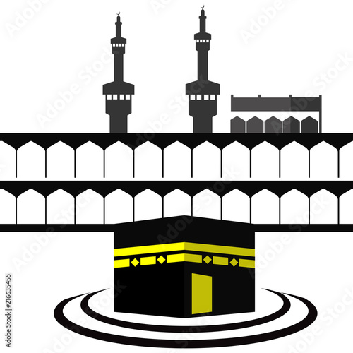 makkah kaaba hajj umrah logo design with text space for