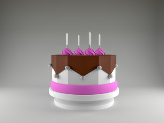 Original buttercream cake with a lot elements over colorful background. 3D render. High resolution.