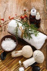Tuinposter Spa Christmas spa with Composition of treatment and wooden background