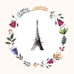 Vector illustration with Eiffel tower with a colorful floral wreath