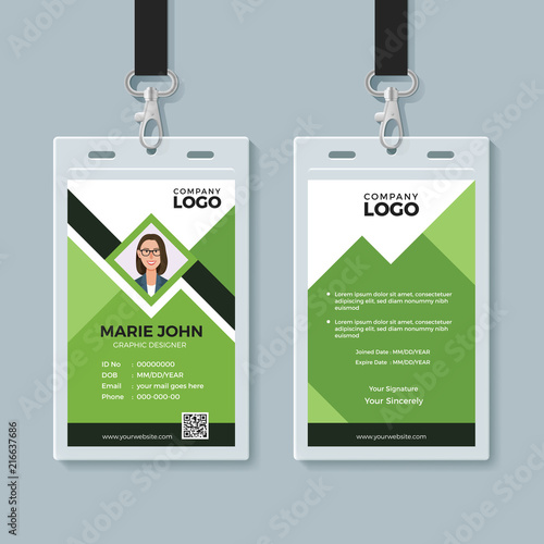 creative green id card design template stock image and royalty free