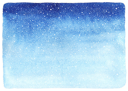 Winter watercolor horizontal gradient background, texture with falling snow splash texture. Christmas, New Year hand drawn template with uneven edges. Shades of blue watercolour stains.