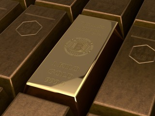 3D illustration of a gold bullion cryptocurrency bitcoin and a variety of gold bullion rusty, old gold. The idea of the superiority of electronic money. Digital gold is better than natural metal