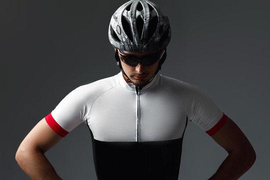 portrait of cyclist wearing helmet